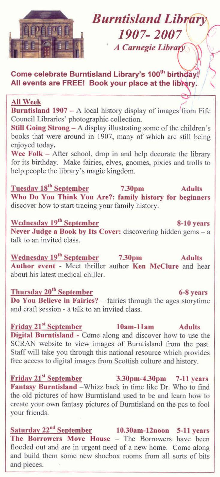 Library centenary programme
